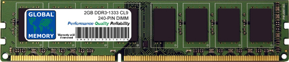 2GB DDR3 1333MHz PC3-10600 240-PIN DIMM MEMORY RAM FOR DELL DESKTOPS
